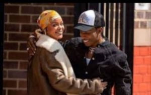 Rihanna and A$AP Rocky appear to be in love as they film a new music video in New York.