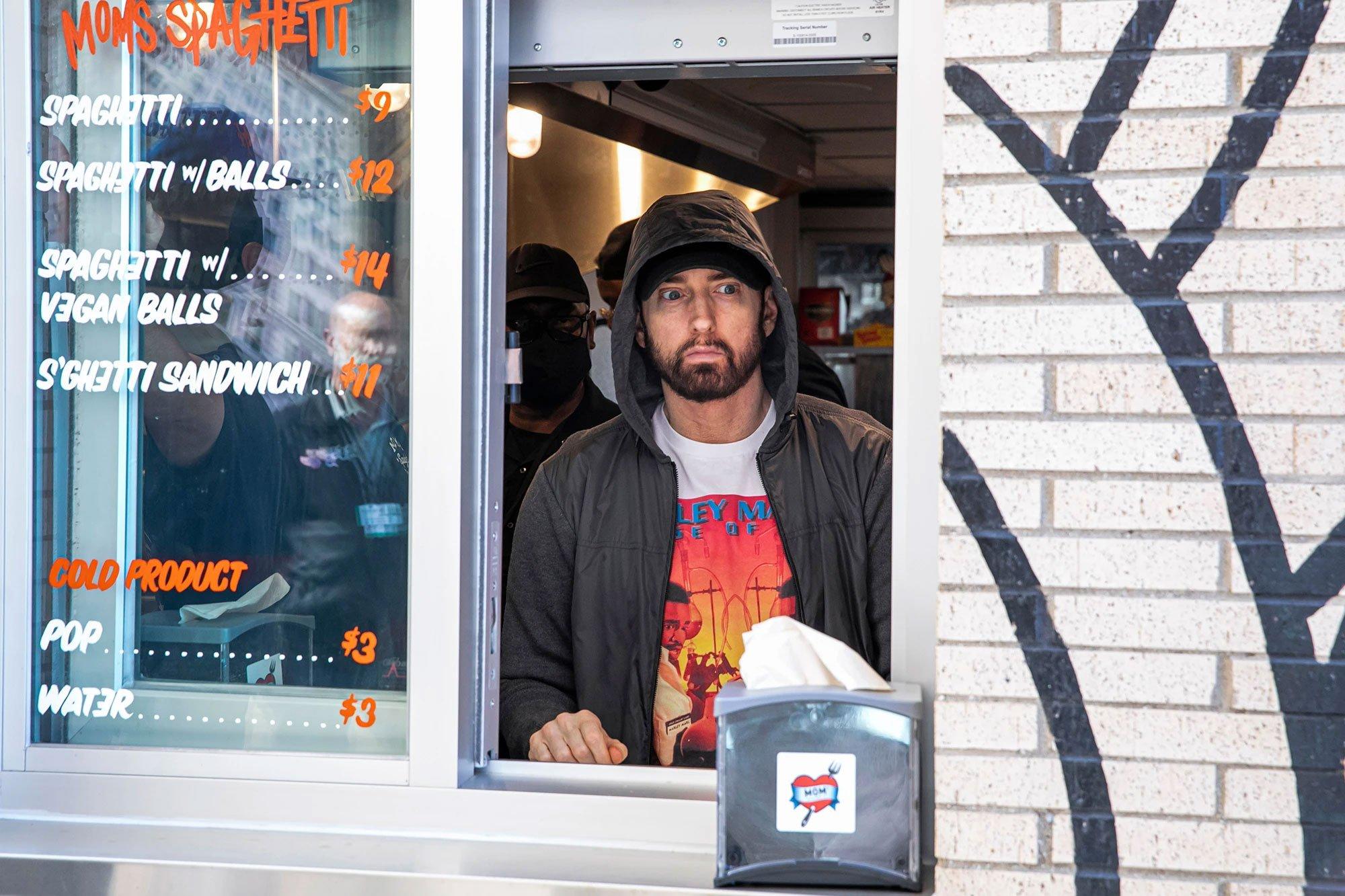 Eminem shocks fans at the grand opening of Mom's Spaghetti restaurant